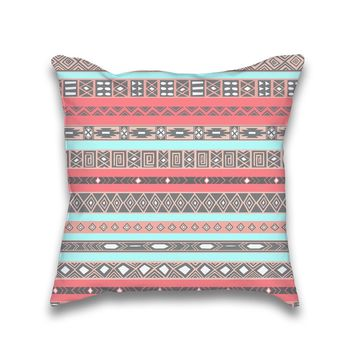 Aqua Coral Peach Aztec Boho Pattern Throw Pillow