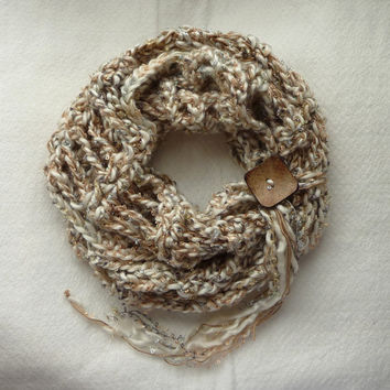 Cappucino Carnegie Hill Infinity Scarf OOAK, Crochet Accessories, Cowl Scarf, Loop Scarf, Circle Scarf, Neck Warmer, CR1038 VLL Designs