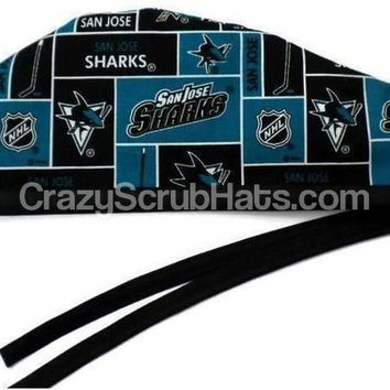 Men's Unlined Surgical Scrub Hat Cap in San Jose Sharks