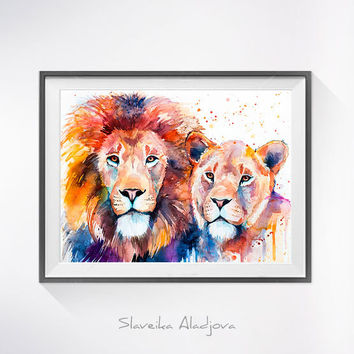 Lion Lioness Love watercolor painting print ,lion art, animal art, illustration, animal watercolor, lion illustration, lion painting,cat art