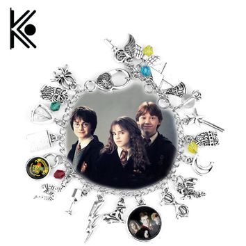 Hogwarts bracelet badge snake admission notice Magic wand wings moon glasses spider dragon accessories jewelry