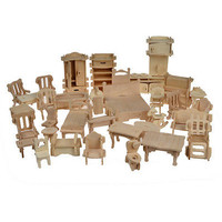 Wooden Doll House Furnitures Puzzle Scale Miniature Models DIY Accessories Set
