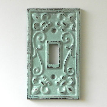 Shabby Chic Switchplate Cover Decorative Cast Iron Light Switch Plate Paris Flea Market Style Robins Egg Blue Nursery Modern Rustic Fixture