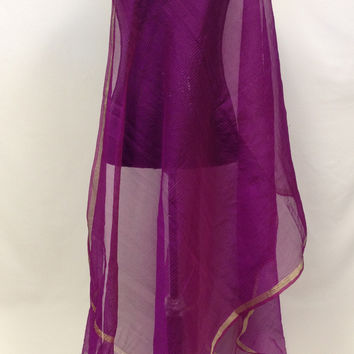 Plain Organza Pintuck Dupatta - Purple