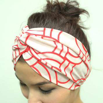 Graphic Print Turban Twisted Headband , Head Wrap White/Red Spring