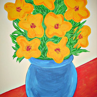 Original Yellow Flower Painting - with Blue Vase on Red Table by Mei Faith