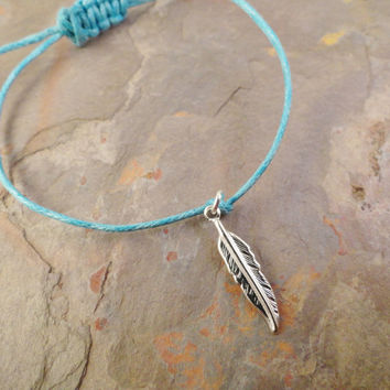 Silver Feather Adjustable Anklet or Bracelet