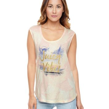 Powder Pink Palmgr Palmgrove Print Muscle Tank by Juicy Couture,