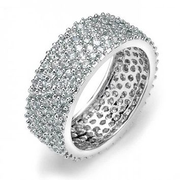 Pave 5 Row Wide CZ Wedding Eternity Band Ring 925 Sterling Silver