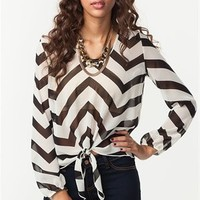 A'GACI Zig Zag Print Tie Front Chiffon Blouse - TOPS