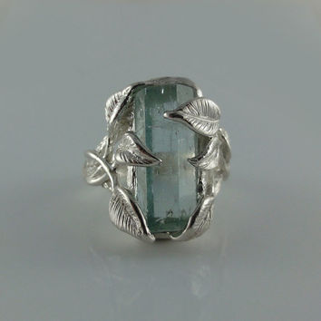 Raw Uncut Rough Blue Aquamarine Ring by DawnVertreesJewelry