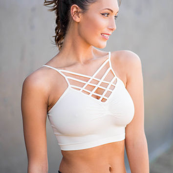 Who I Am Spider Chest Cage Long Bralette (Ivory)