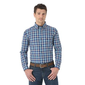 Wrangler Men's Western Fashion Blue Plaid Long Sleeve Shirt - MG2026M