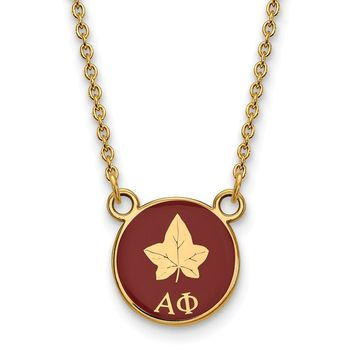 14K Plated Silver Alpha Phi Small Enamel Necklace