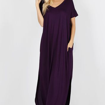 Viscose Side Slit V-Neck Sleeve Maxi Dress