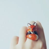 daintyme Enamel Red Fox 3-piece Ring Set