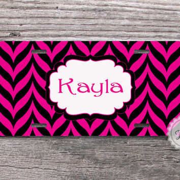 Personalized License plate - Hot Magenta and Black chevron custom front car plate - 112