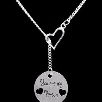 You Are My Person You're My Sister Best Friend Gift Heart Lariat Necklace