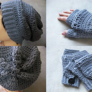 Puff Stitch Pattern Set - Fingerless Gloves and Hat Crochet Pattern