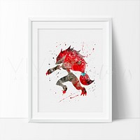 Zoroark, Pokemon Evolution Watercolor Art Print