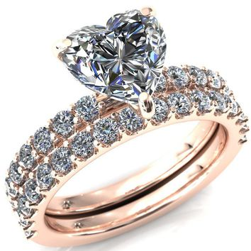 Mylene Heart Moissanite 3 Prong Sculptural Half Eternity Diamond Engagement Ring