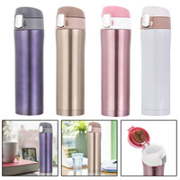 4 colors 450ml Stainless Steel Insulated Thermos Cup Coffee Mug with Lid Colored Travel Drink Bottle