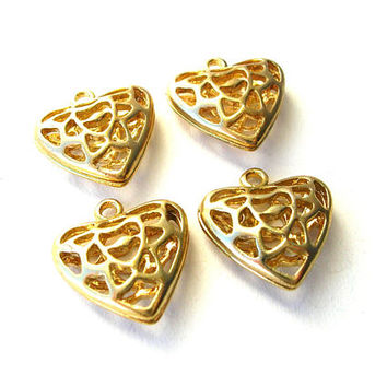Gold Tone Puffy Heart Pendant - Lacy Heart Charms - 2 Sided Charms