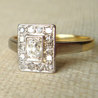 Art Deco Oval Diamond Rectangular Ring, Antique Diamond 18k Gold & Platinum Engagement Ring, Vintage Ring Approx Size US 3.5 / 3.75