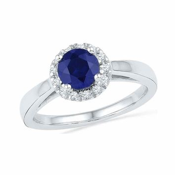 10kt White Gold Womens Round Lab-Created Blue Sapphire Solitaire Ring 1-1/8 Cttw