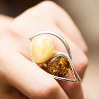 Amber Adjustable Ring, baltic amber, sterling 925 silver ring, cognac, yellow amber ring, Christmas present, jewelry, large ring