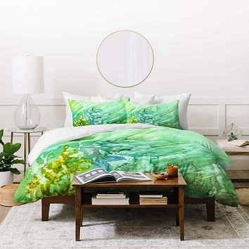 Rosie Brown Green Coral Duvet Cover