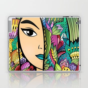Girl With Colorful Hair Laptop & iPad Skin by MIKART