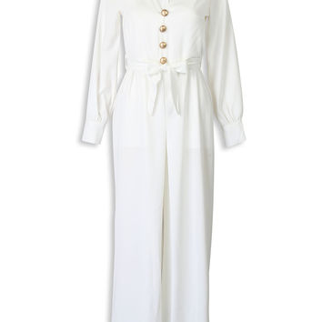 White V-neck Button Tie Waist Long Sleeve Jumpsuit