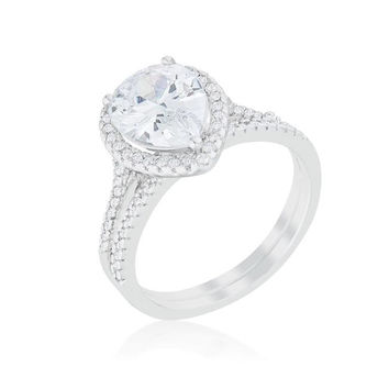 Halo Solitaire Pear Engagement Ring, size : 06