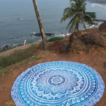 BLUE OMBRE AMAZING ROUNDIE BEACH THROW!!