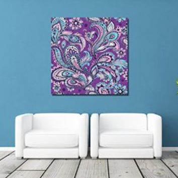 canik204 Canvas Print Artwork Stretched Gallery Wrapped Wall Art Painting Indian ornamental flowers Size 26x26""
