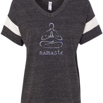 Womens Yoga T-shirt Namaste Lotus Pose Eco-Friendly V-neck