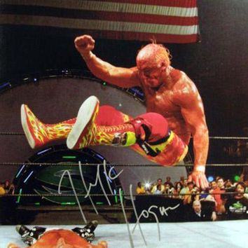 ICIKJNG Hulk Hogan Signed Autographed Glossy 16x20 Photo vs Shawn Michaels (ASI COA)