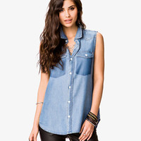 Buttoned Chambray Shirt | FOREVER 21 - 2031857292
