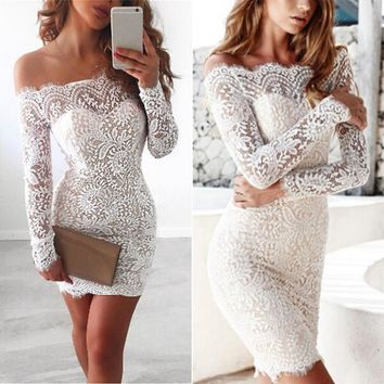 Women Lace Floral Bodycon Off Shoulder Slim Summer Dress