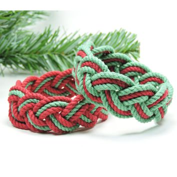 Striped Sailor Knot Bracelet, Christmas Colors