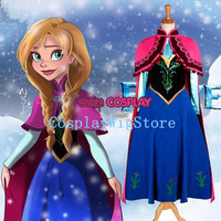 Frozen Costume Disney Princess Anna Costume Cosplay Costume Anna Dress With Cloak Custom Size