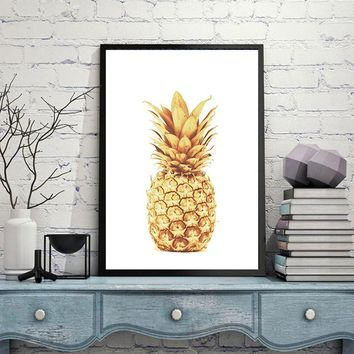 Unframed Gold Pineapple Canvas Painting Posters Pop Oil Wall Art Living Room Home Decor Bedroom Decor Painting Art Wall Picture