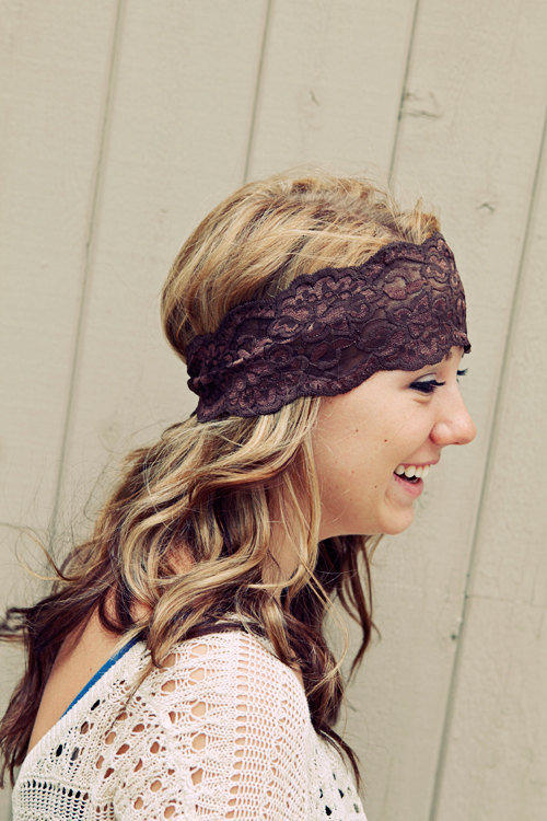 Brown Lace Headband by BglorifiedBoutique on Etsy