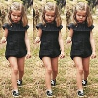 2016 Fashion Casual Baby Girls Kids Clothes Bebes Bodysuit Playsuit Outfit Sunsuit Ruffles Cute Toddler Girls Bodysuit 0-5T