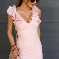 Summer Ruffle V-neck Sexy One Piece Dress [212031897626]