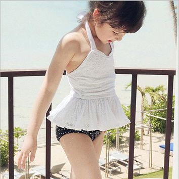 Cute Baby Girls Hang Neck Swimsuit One Piece Skirt Lace Style Lovely Printing Bikini Suit Kids Swimwear Infant Sweet Swimsuits