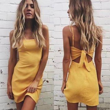 LMFMS9 Butterfly Spaghetti Strap Dress Summer Stylish One Piece Dress [9893987277]