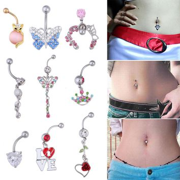 Crystal Shinning Belly Button Punk Navel Rings Barbell Button Ring Body Piercing Jewelry Nail Tongue Eyebrow Nail Piercing