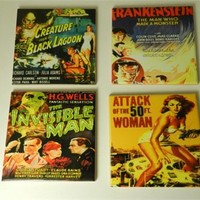 Horror Movie Ceramic Drink Coasters Media Room Gift 50ft Woman Frankenstein